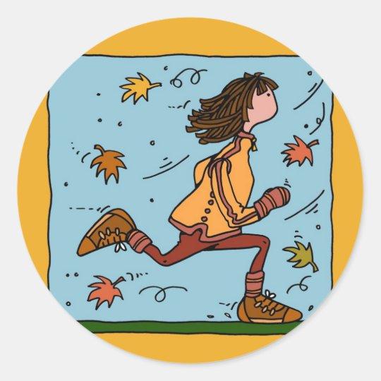 autumn runner (woman) classic round sticker