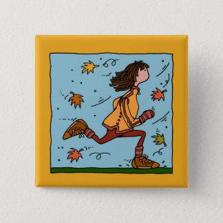 autumn runner (woman) pinback button