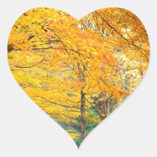 Autumn Rural Roadway Bass Lake Carolina Heart Sticker