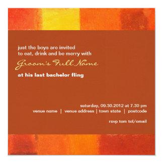 """Autumn rust Bachelor Party Invitation 5.25"""" Square Invitation Card"""