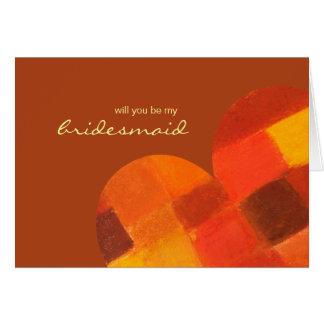 Autumn rust Be My Bridesmaid Card