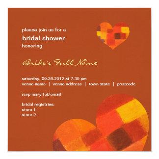 """Autumn rust Bridal Shower Invitation 5.25"""" Square Invitation Card"""