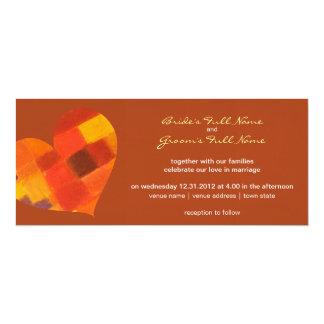 "Autumn rust Wedding Invitation 4"" X 9.25"" Invitation Card"