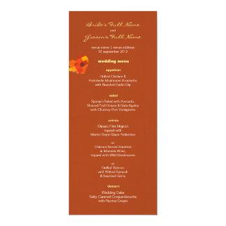 "Autumn rust Wedding Menu 4"" X 9.25"" Invitation Card"