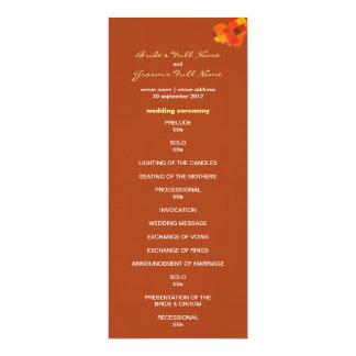 "Autumn rust Wedding Program 4"" X 9.25"" Invitation Card"