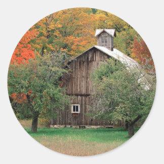 Autumn Rustic Barn Leelanau County Michigan Classic Round Sticker