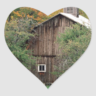 Autumn Rustic Barn Leelanau County Michigan Heart Sticker