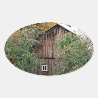 Autumn Rustic Barn Leelanau County Michigan Oval Sticker