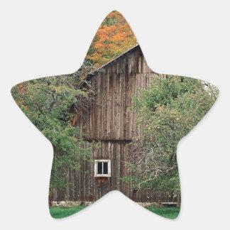 Autumn Rustic Barn Leelanau County Michigan Star Sticker