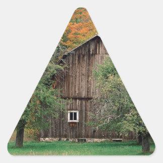 Autumn Rustic Barn Leelanau County Michigan Triangle Sticker