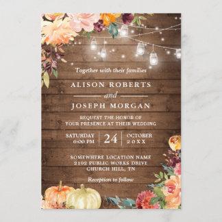 Autumn Rustic Floral Pumpkin String Lights Wedding Invitation