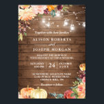 "Autumn Rustic Floral Pumpkin String Lights Wedding Invitation<br><div class=""desc"">Create the perfect Rustic Wedding invite with this ""Autumn Rustic Floral Pumpkin String Lights Wedding Invitation Invitation"" template. This high-quality design is easy to customize to match your wedding colors, styles and theme. (1) For further customization, please click the ""customize further"" link and use our design tool to modify this...</div>"