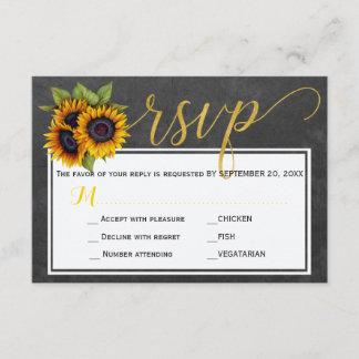Autumn rustic sunflowers wedding script rsvp