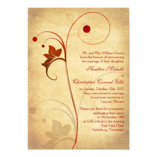 Autumn Rustic Vine Berries Wedding Reception Only Card