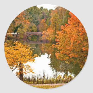 Autumn Scene Classic Round Sticker