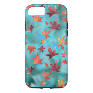 Autumn Scene Dead Leaves over Turquoise iPhone 8/7 Case