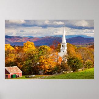 Autumn Scene In Peacham, Vermont, USA Poster