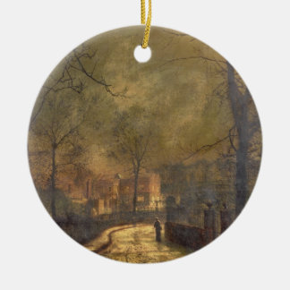 Autumn Scene, Leeds, 1874 (oil on board) Ceramic Ornament