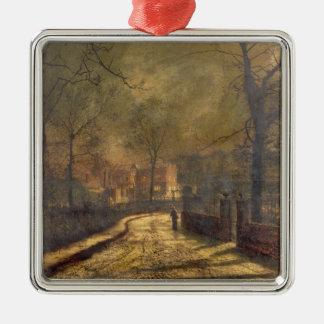 Autumn Scene, Leeds, 1874 (oil on board) Metal Ornament