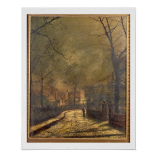 Autumn Scene, Leeds, 1874 (oil on board) Poster