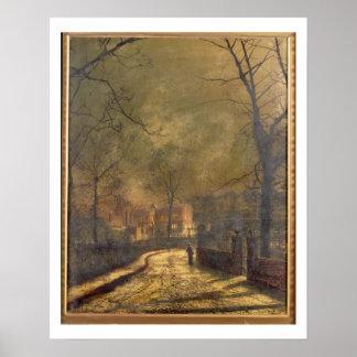 Autumn Scene, Leeds, 1874 (oil on board) Poster