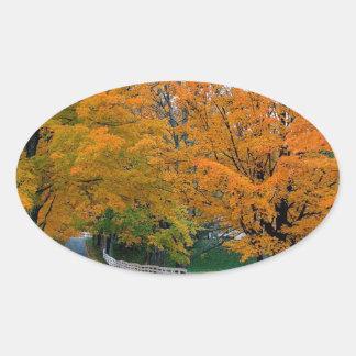 Autumn Scenic Backroad New Hampshire Oval Sticker