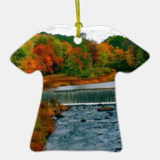 Autumn Scenic View of a Small New England Town Ceramic Ornament