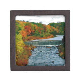 Autumn Scenic View of a Small New England Town Keepsake Box