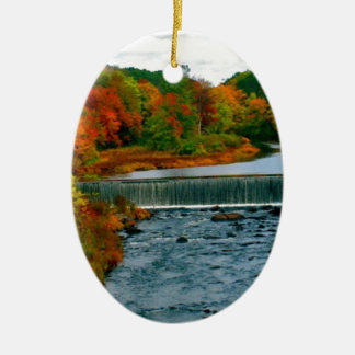 Autumn Scenic View of a Small New England Town Ornament