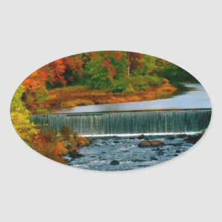 Autumn Scenic View of a Small New England Town Oval Sticker