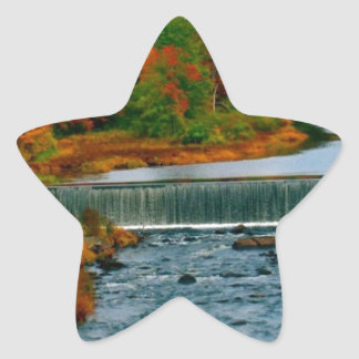 Autumn Scenic View of a Small New England Town Star Sticker