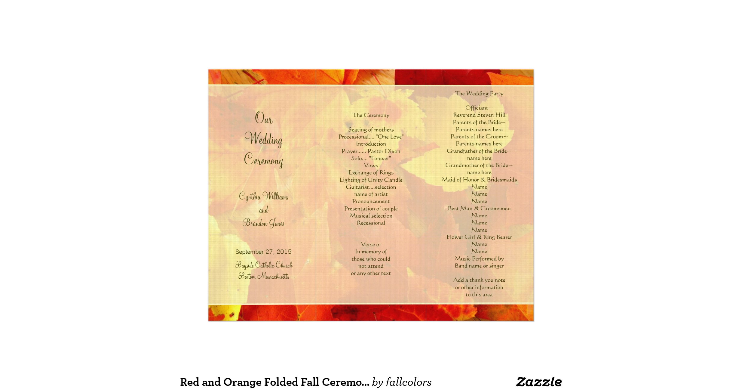 Autumn Scent Tri Fold Wedding Program Template Letterhead R602d915d354345d2a32cd64471393b57