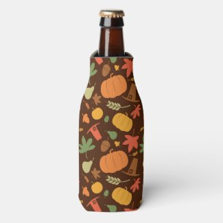 Autumn seamless background, Thanksgiving day. Bottle Cooler