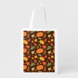 Autumn seamless background Thanksgiving day Reusable Grocery Bags