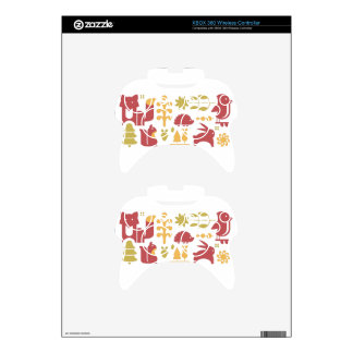 Autumn seamless pattern with cute cartoon forest a xbox 360 controller skin
