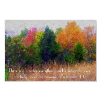 Autumn season bible verse Ecclesiastes 3:1 Poster
