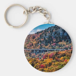 autumn season morning on blue ridge parkway mounta keychain