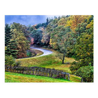 autumn season morning on blue ridge parkway mounta postcard