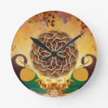 Autumn Serenade Mandala of the Two Peacocks Clock