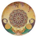 Autumn Serenade (Mandala of the Two Peacocks) Melamine Plate