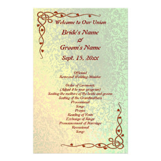 Autumn Shades Green and Yellow Wedding Med Flyer