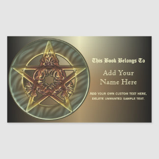 Autumn Shades Pentacle Bookplates Rectangle Stickers