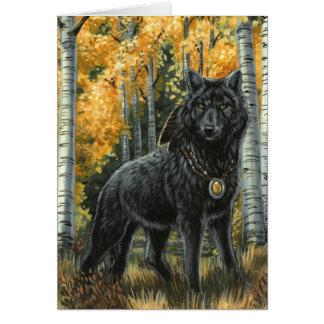 Autumn Shadow Black Wolf Greeting Card