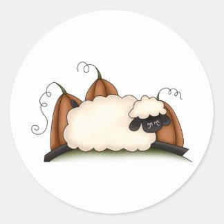 Autumn Sheep · Sheep & Pumpkins Round Stickers