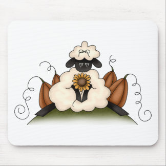 Autumn Sheep · Sheep, Sunflower & Pumpkins Mousepad