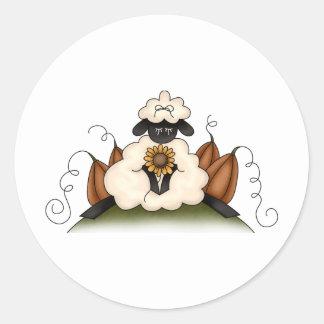 Autumn Sheep · Sheep, Sunflower & Pumpkins Round Stickers