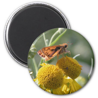 Autumn Sneezeweed with Butterfly Friend 2 Inch Round Magnet