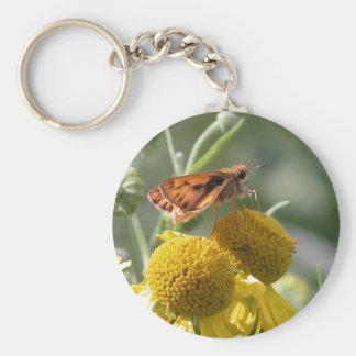 Autumn Sneezeweed with Butterfly Friend Basic Round Button Keychain