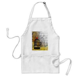 Autumn song with bird cage and he adult apron