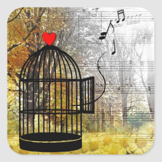 Autumn song with bird cage and he square sticker